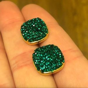 kate spade Jewelry - Kate Spade pavé small square earring emerald green